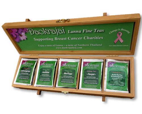 Overcome Breast Cancer Bamboo Tea Caddy
