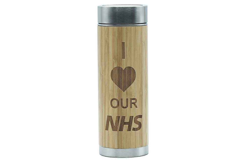 I love Our NHS etched thermos flask